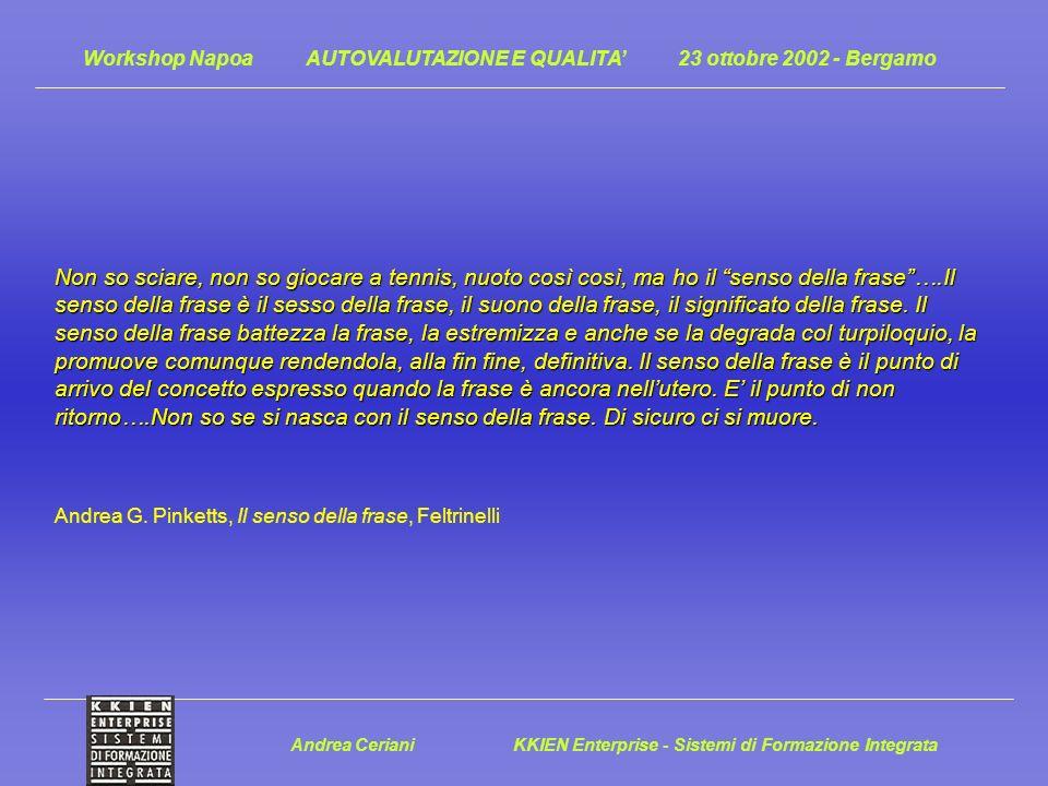 Workshop Napoa AUTOVALUTAZIONE E QUALITA 23 ottobre 2002 - Bergamo Non so sciare, non so giocare a tennis, nuoto così così, ma ho il senso della frase….Il senso della frase è il sesso della frase, il suono della frase, il significato della frase.
