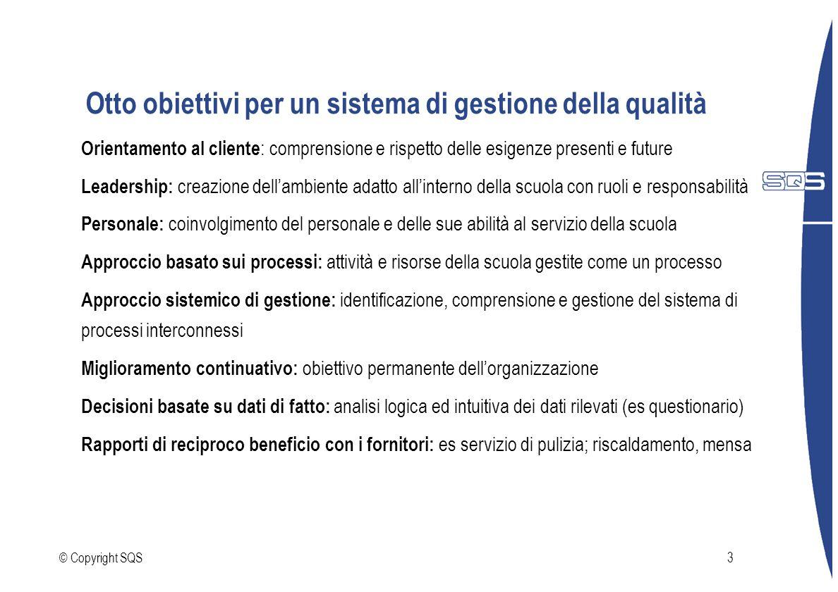 © Copyright SQS3 Otto obiettivi per un sistema di gestione della qualità Orientamento al cliente : comprensione e rispetto delle esigenze presenti e f