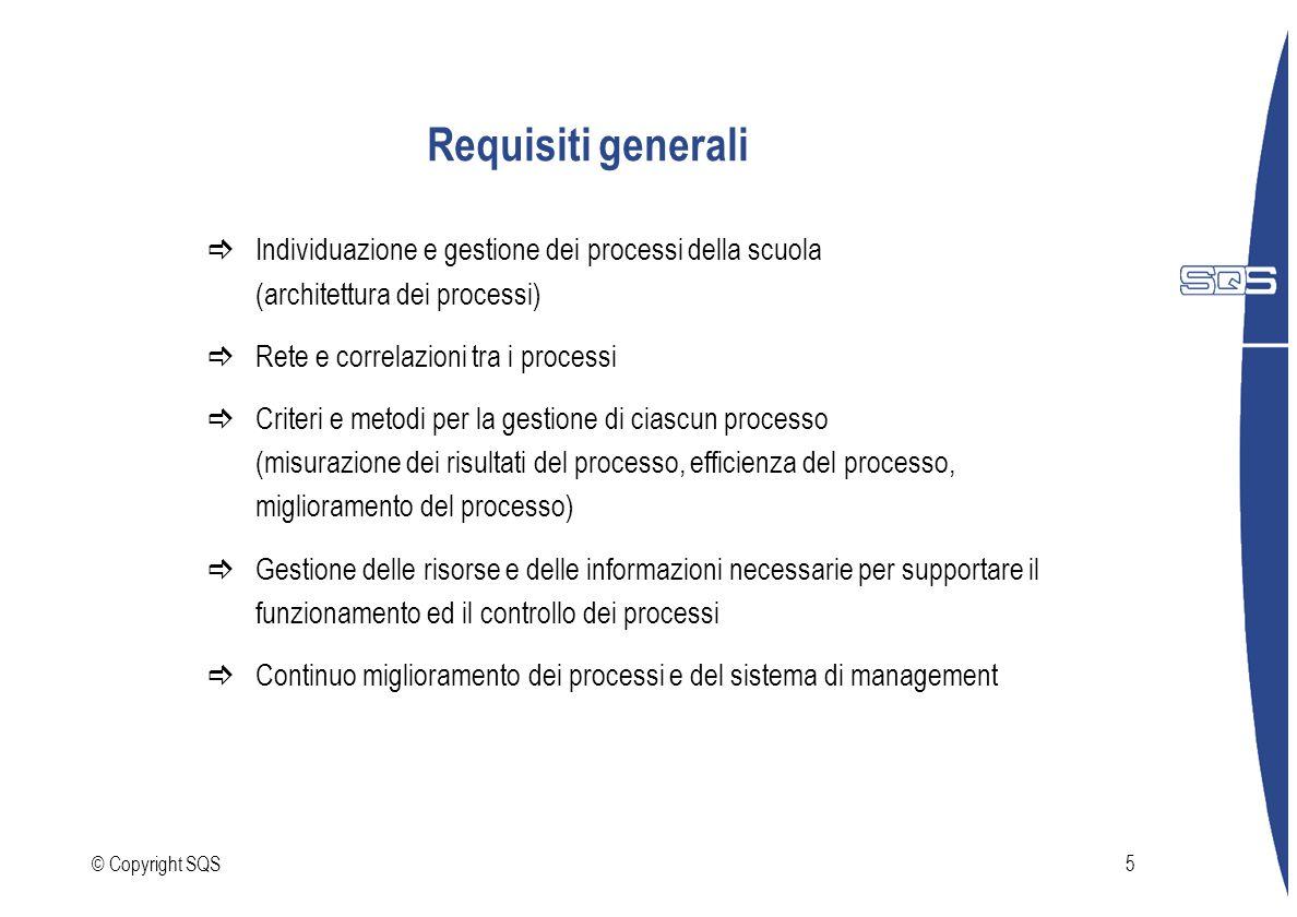 © Copyright SQS5 Requisiti generali Individuazione e gestione dei processi della scuola (architettura dei processi) Rete e correlazioni tra i processi