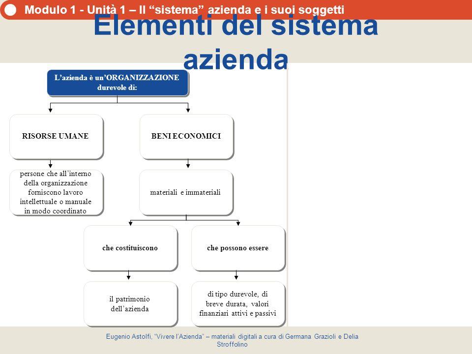 Modulo 1 - Unità 1 – Il sistema azienda e i suoi soggetti Eugenio Astolfi, Vivere lAzienda – materiali digitali a cura di Germana Grazioli e Delia Str