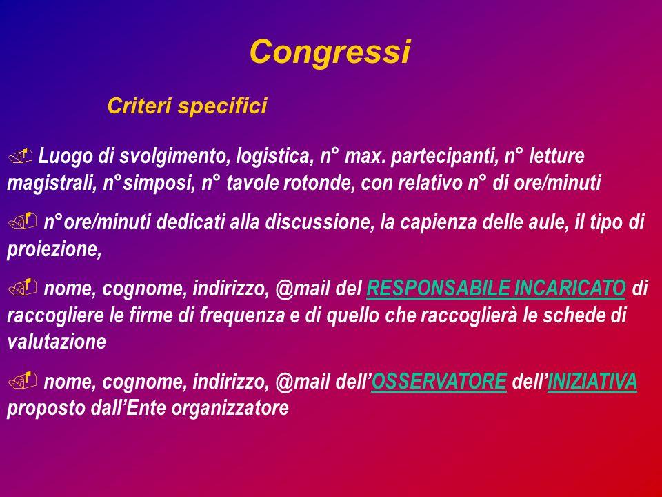 Congressi Criteri specifici. Luogo di svolgimento, logistica, n° max.
