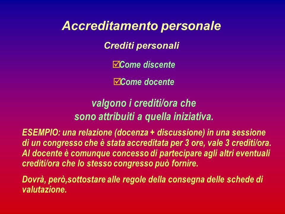 Accreditamento personale Crediti personali Come discente Come docente valgono i crediti/ora che sono attribuiti a quella iniziativa.