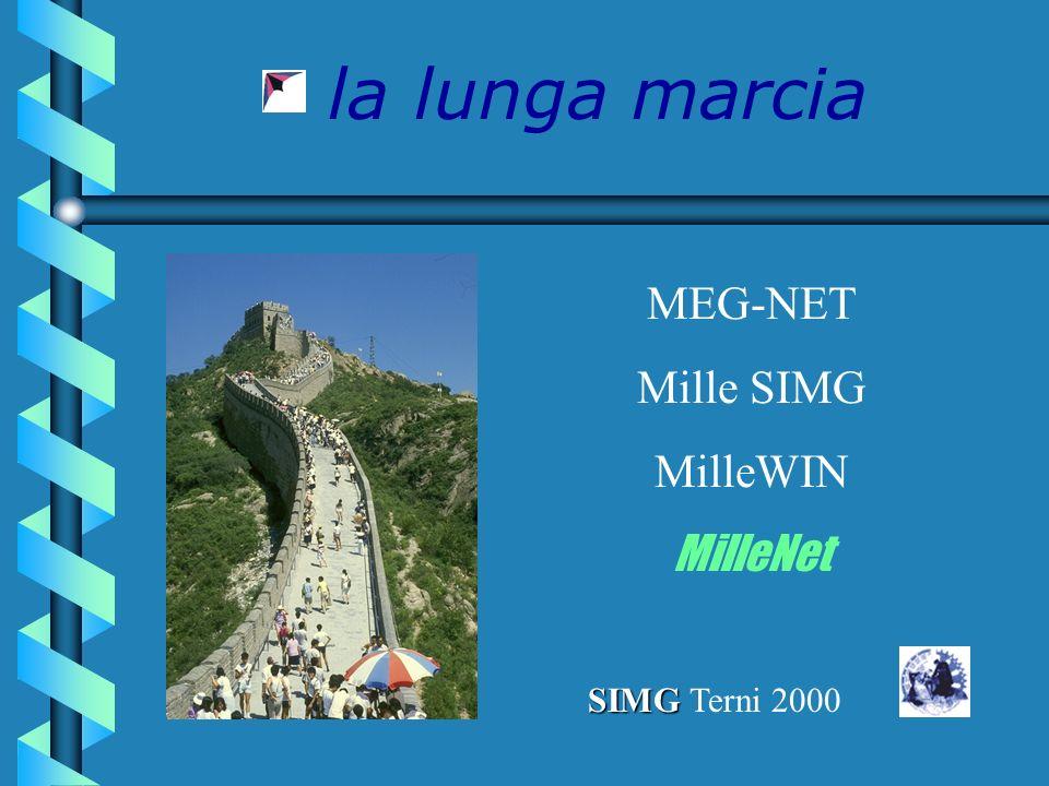 la lunga marcia MEG-NET Mille SIMG MilleWIN MilleNet SIMG SIMG Terni 2000