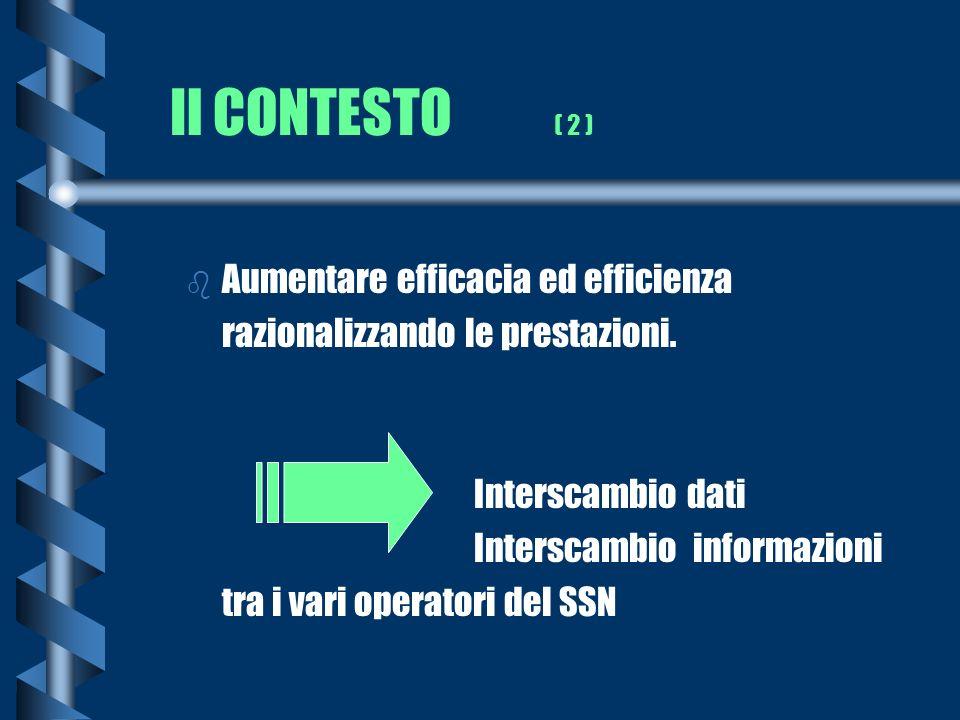 Il CONTESTO ( 2 ) b Aumentare efficacia ed efficienza razionalizzando le prestazioni. Interscambio dati Interscambio informazioni tra i vari operatori
