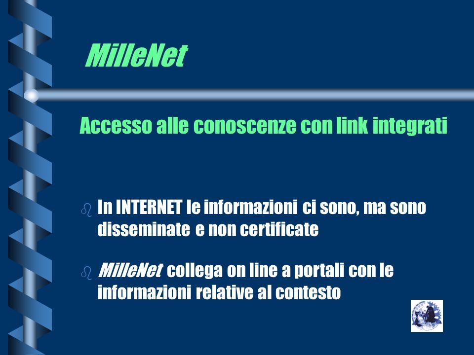 MilleNet Accesso alle conoscenze con link integrati b In INTERNET le informazioni ci sono, ma sono disseminate e non certificate b MilleNet collega on