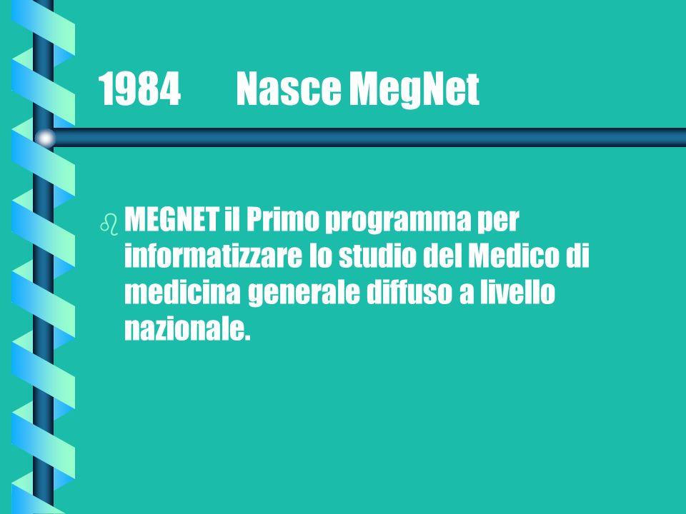 1984 Nasce MegNet b b MEGNET il Primo programma per informatizzare lo studio del Medico di medicina generale diffuso a livello nazionale.