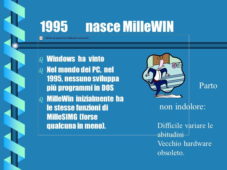 1995 nasce MilleWIN b Windows ha vinto b Nel mondo dei PC, nel 1995, nessuno sviluppa più programmi in DOS b MilleWin inizialmente ha le stesse funzio