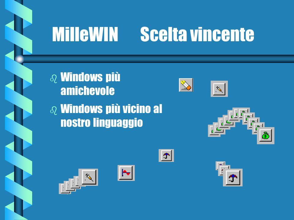 MilleWIN Scelta vincente b Windows più amichevole b Windows più vicino al nostro linguaggio F3 F4 F5 F9 F7 F6 Alt+T
