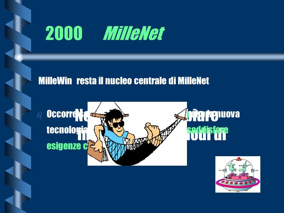2000 MilleNet Non occorre cambiare impostazione e modi di lavorare MilleWin resta il nucleo centrale di MilleNet b Occorre solo sfruttare le opportuni