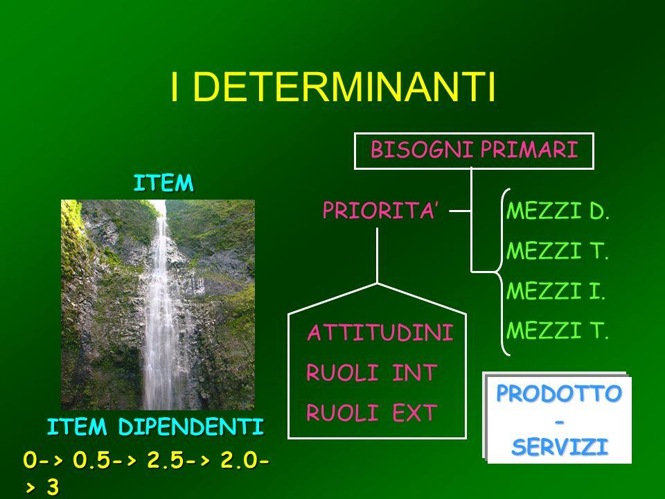 I DETERMINANTI ITEM DETERMINANTI ITEM DIPENDENTI 0-> 0.5-> 2.5-> 2.0- > 3 BISOGNI PRIMARI PRIORITAMEZZI D.