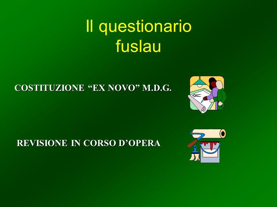 Il questionario fuslau COSTITUZIONE EX NOVO M.D.G. REVISIONE IN CORSO DOPERA