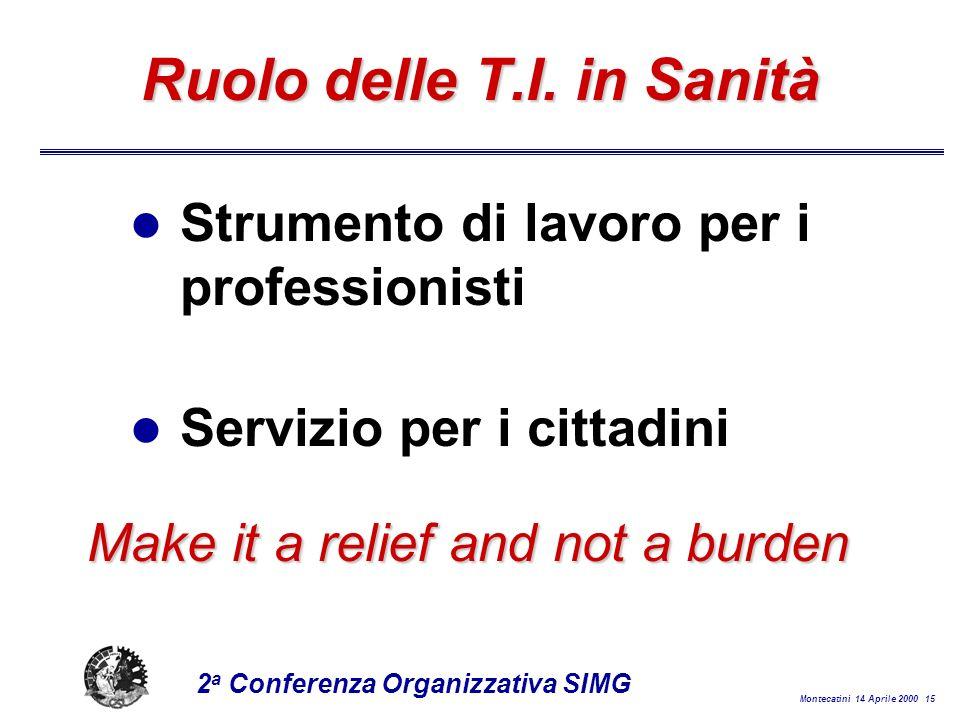 Montecatini 14 Aprile 2000 15 2 a Conferenza Organizzativa SIMG Ruolo delle T.I.