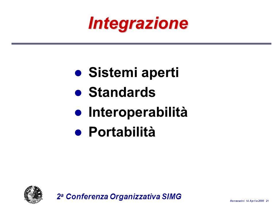 Montecatini 14 Aprile 2000 21 2 a Conferenza Organizzativa SIMG Integrazione l Sistemi aperti l Standards l Interoperabilità l Portabilità