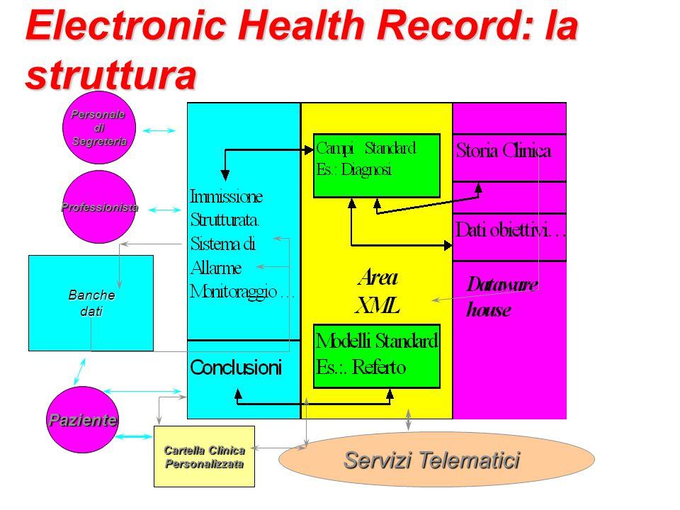 Electronic Health Record: la struttura Banche Banchedati Servizi Telematici Cartella Clinica Personalizzata Professionista Paziente PersonalediSegreteria