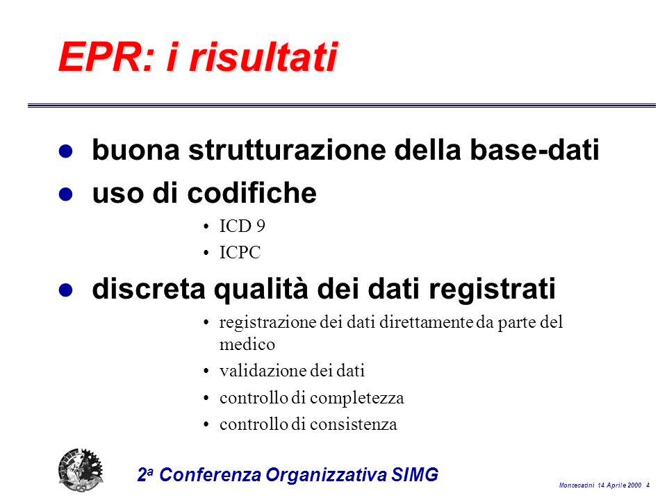 Montecatini 14 Aprile 2000 25 2 a Conferenza Organizzativa SIMG Coesione e sinergia tra i diversi moduli