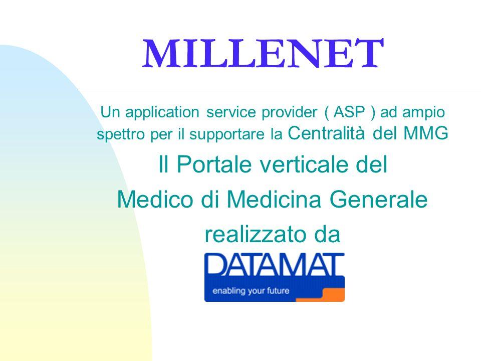 MILLENET Un application service provider ( ASP ) ad ampio spettro per il supportare la Centralità del MMG Il Portale verticale del Medico di Medicina Generale realizzato da