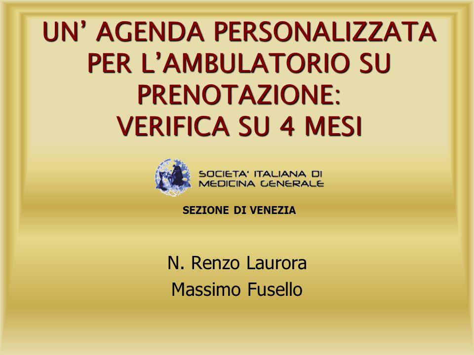 UN AGENDA PERSONALIZZATA PER LAMBULATORIO SU PRENOTAZIONE: VERIFICA SU 4 MESI N. Renzo Laurora Massimo Fusello SEZIONE DI VENEZIA