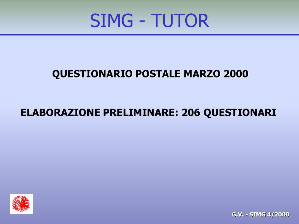 G.V. - SIMG 4/2000 SIMG - TUTOR QUESTIONARIO POSTALE MARZO 2000 ELABORAZIONE PRELIMINARE: 206 QUESTIONARI