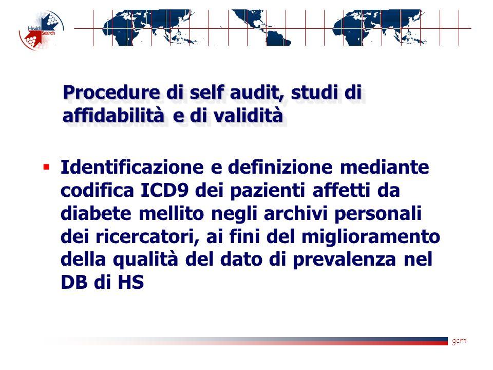 Procedure di self audit, studi di affidabilità e di validità Identificazione e definizione mediante codifica ICD9 dei pazienti affetti da diabete mellito negli archivi personali dei ricercatori, ai fini del miglioramento della qualità del dato di prevalenza nel DB di HS