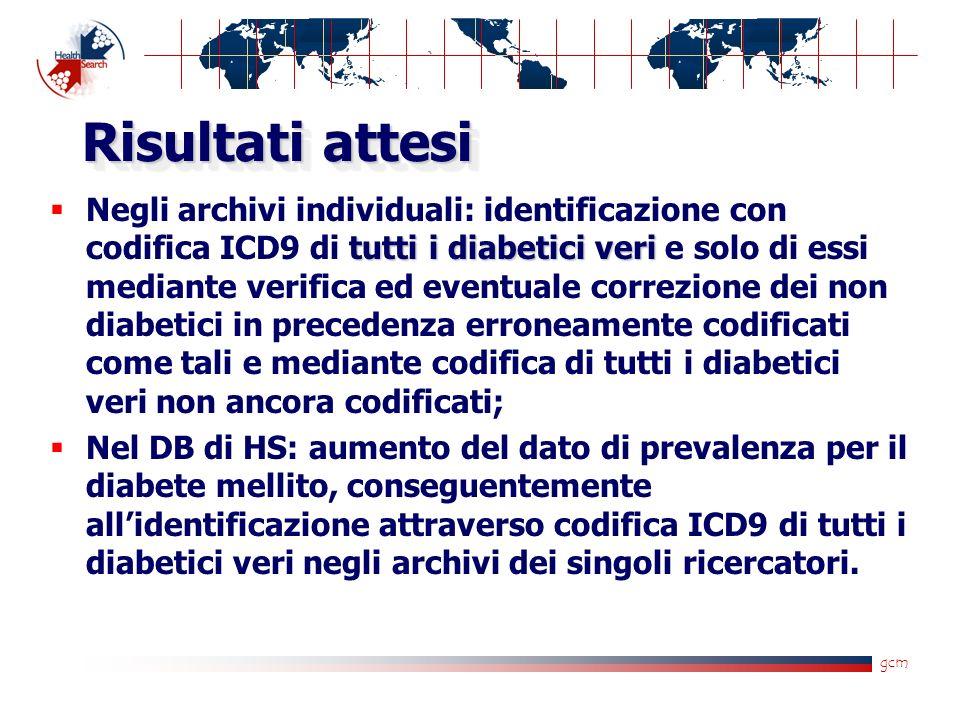 gcm Risultati attesi tutti i diabetici veri Negli archivi individuali: identificazione con codifica ICD9 di tutti i diabetici veri e solo di essi mediante verifica ed eventuale correzione dei non diabetici in precedenza erroneamente codificati come tali e mediante codifica di tutti i diabetici veri non ancora codificati; Nel DB di HS: aumento del dato di prevalenza per il diabete mellito, conseguentemente allidentificazione attraverso codifica ICD9 di tutti i diabetici veri negli archivi dei singoli ricercatori.