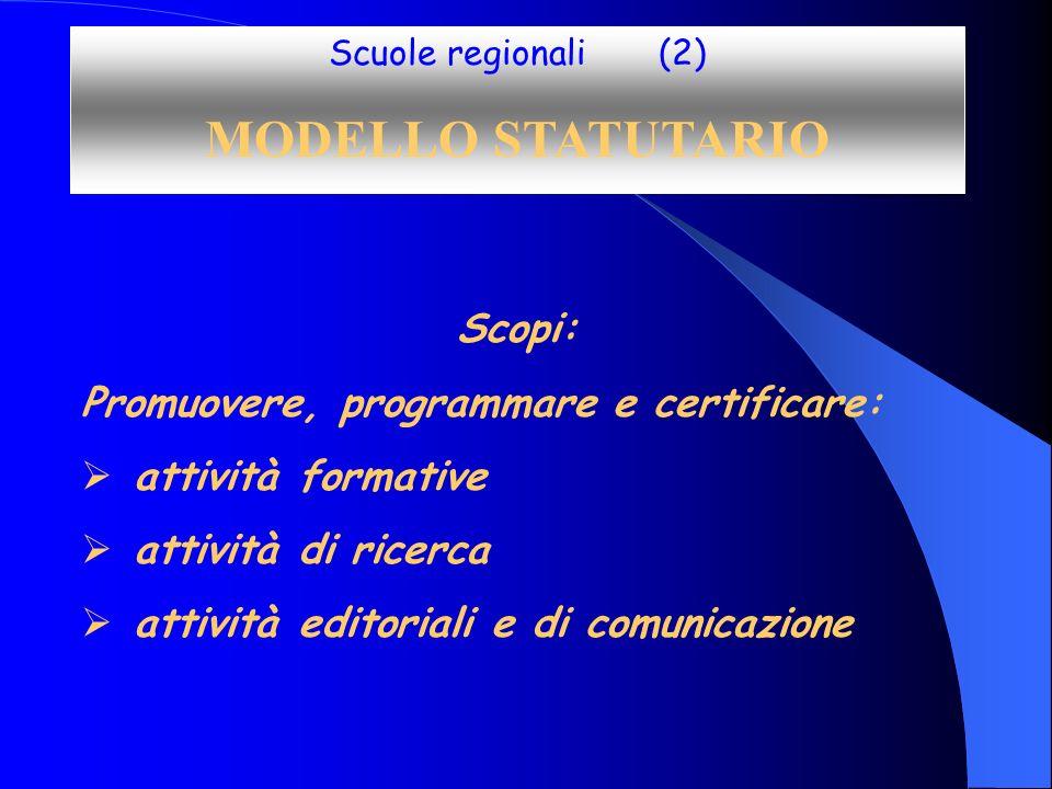 Scuole regionali (2) MODELLO STATUTARIO Scopi: Promuovere, programmare e certificare: attività formative attività di ricerca attività editoriali e di comunicazione