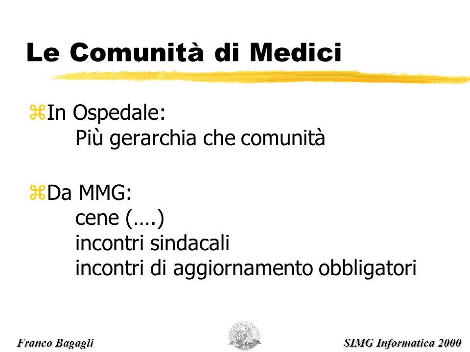 Le Comunità di Medici zIn Ospedale: Più gerarchia che comunità zDa MMG: cene (….) incontri sindacali incontri di aggiornamento obbligatori Franco Bagagli SIMG Informatica 2000