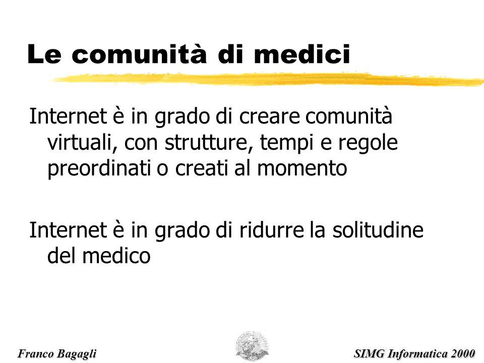 Le comunità di medici Internet è in grado di creare comunità virtuali, con strutture, tempi e regole preordinati o creati al momento Internet è in grado di ridurre la solitudine del medico Franco Bagagli SIMG Informatica 2000