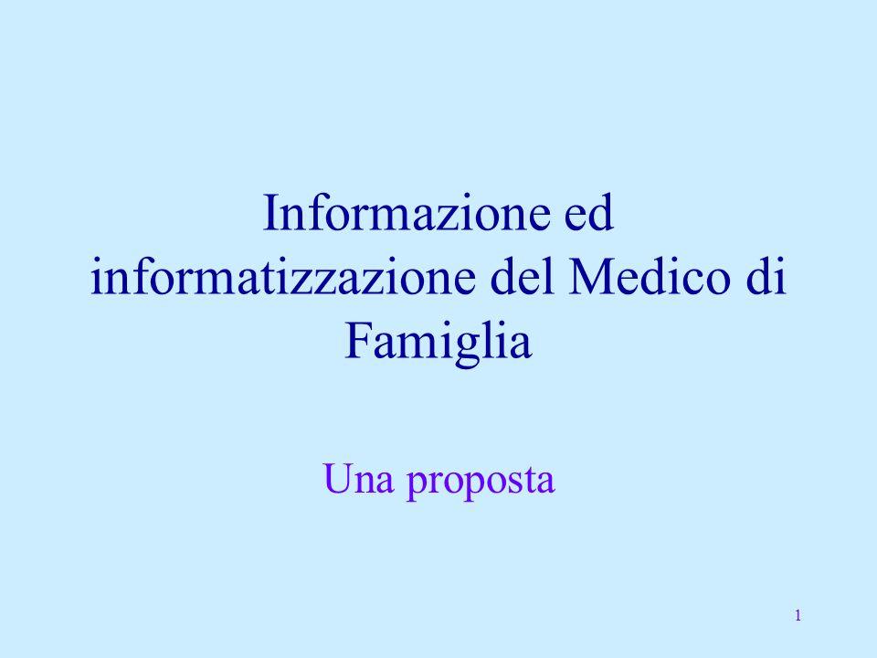 1 Informazione ed informatizzazione del Medico di Famiglia Una proposta