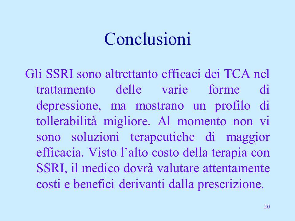 20 Conclusioni Gli SSRI sono altrettanto efficaci dei TCA nel trattamento delle varie forme di depressione, ma mostrano un profilo di tollerabilità migliore.