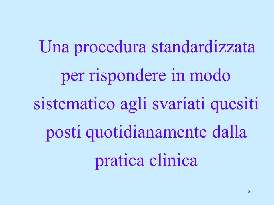 8 Una procedura standardizzata per rispondere in modo sistematico agli svariati quesiti posti quotidianamente dalla pratica clinica