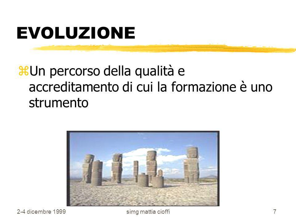 2-4 dicembre 1999simg mattia cioffi7 EVOLUZIONE zUn percorso della qualità e accreditamento di cui la formazione è uno strumento