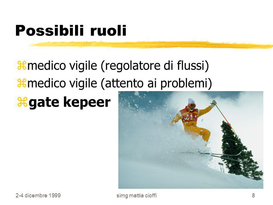 2-4 dicembre 1999simg mattia cioffi8 Possibili ruoli zmedico vigile (regolatore di flussi) zmedico vigile (attento ai problemi) zgate kepeer