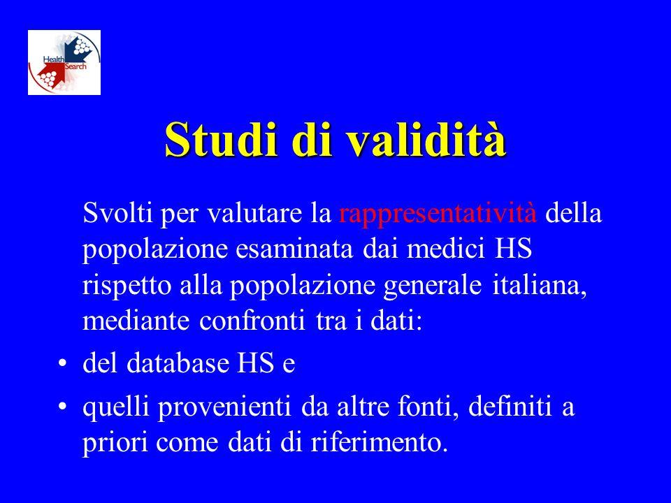 Studi di validità Svolti per valutare la rappresentatività della popolazione esaminata dai medici HS rispetto alla popolazione generale italiana, mediante confronti tra i dati: del database HS e quelli provenienti da altre fonti, definiti a priori come dati di riferimento.