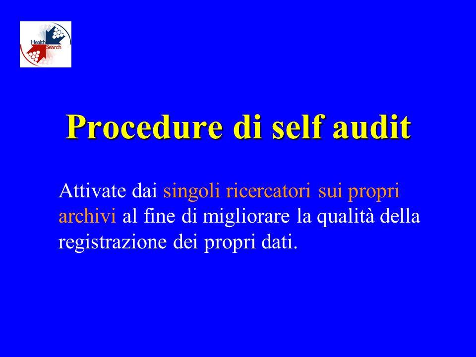 Procedure di self audit Attivate dai singoli ricercatori sui propri archivi al fine di migliorare la qualità della registrazione dei propri dati.