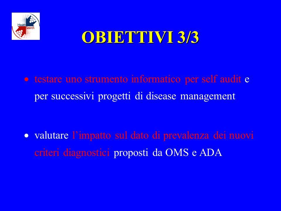 OBIETTIVI 3/3 testare uno strumento informatico per self audit e per successivi progetti di disease management valutare limpatto sul dato di prevalenza dei nuovi criteri diagnostici proposti da OMS e ADA