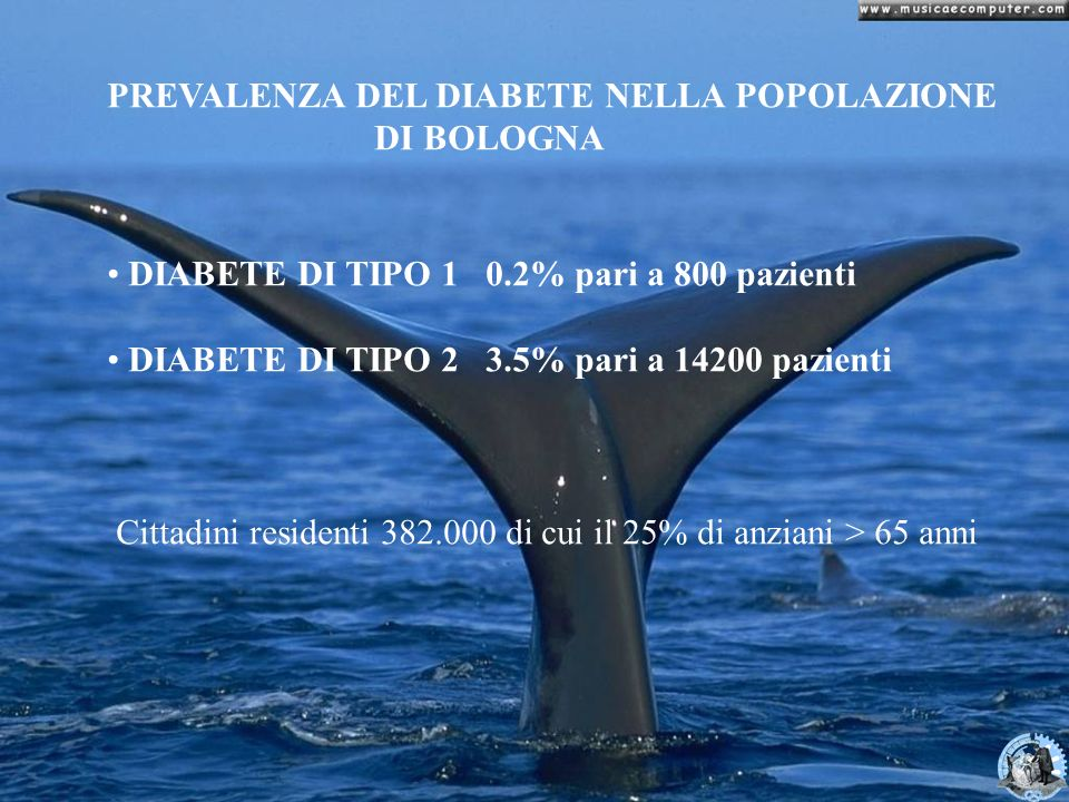 PREVALENZA DEL DIABETE NELLA POPOLAZIONE DI BOLOGNA DIABETE DI TIPO 1 0.2% pari a 800 pazienti DIABETE DI TIPO 2 3.5% pari a 14200 pazienti Cittadini