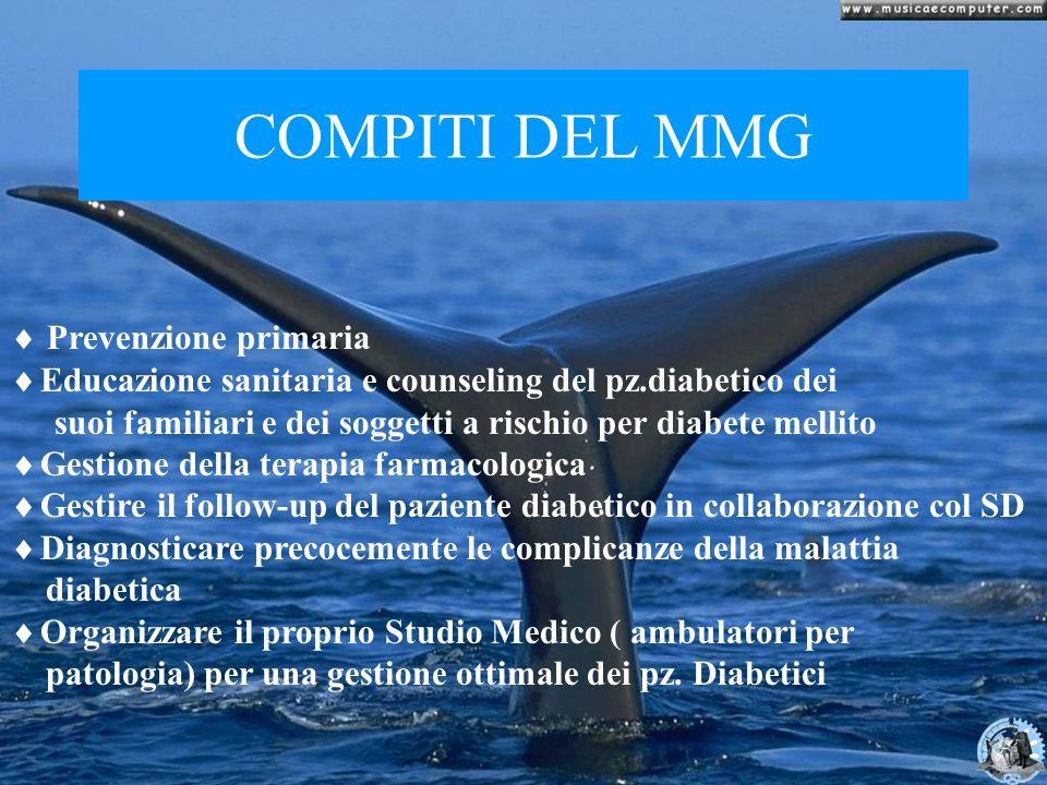 COMPITI DEL MMG Prevenzione primaria Educazione sanitaria e counseling del pz.diabetico dei suoi familiari e dei soggetti a rischio per diabete mellit