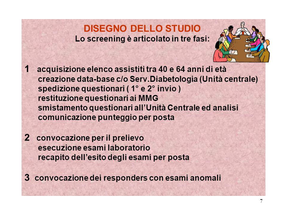 7 DISEGNO DELLO STUDIO Lo screening è articolato in tre fasi: 1 acquisizione elenco assistiti tra 40 e 64 anni di età creazione data-base c/o Serv.Dia