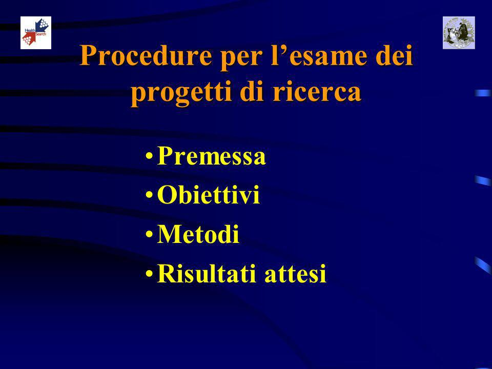 Procedure per lesame dei progetti di ricerca Premessa Obiettivi Metodi Risultati attesi