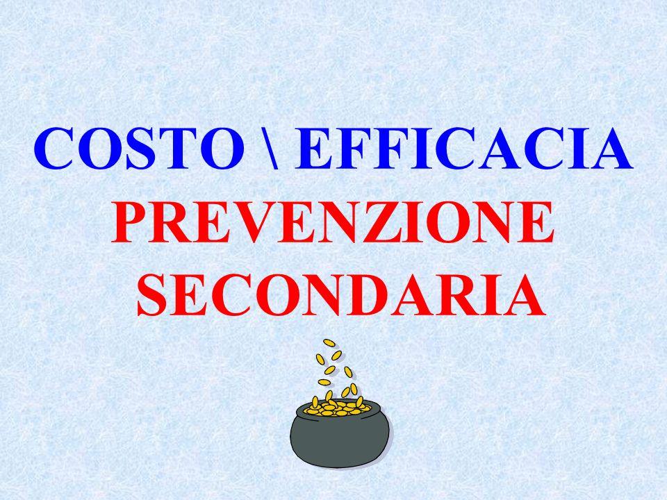 PREVENZIONE PRIMARIA COSTO\EFFICACIA (WOSCOPS) Per ogni 200 pazienti trattati in 1 anno con 40 mg di pravastatina si spendono 395 milioni e si risparm