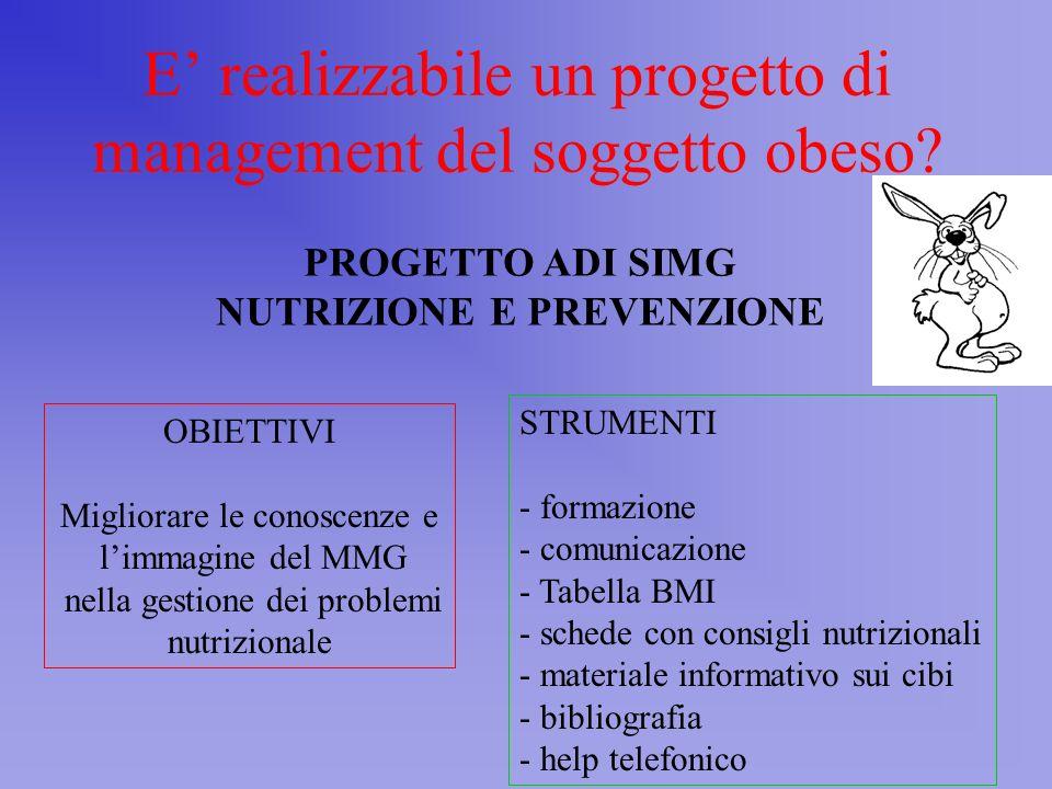 Incontro con Soggetto 1 BMI>25 2 BMI misurato Nei 2 anni Precedenti 3 Misura P H CA Calcola BMI 4 BMI >25 O CA >88 F >102 M 5 Valuta i Fattori di Rischio 6 BMI >30 o BMI 25-29 o CA >88 F >102 M > 2 fattori di rischio 7 Medico e soggetto individuano Gli obiettivi e La strategia di Trattamento per La perdita di Peso e il Controllo dei Fattori di rischio 8 Vuole il Soggetto Perdere Peso.