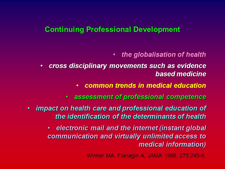 Continuing Professional Development the globalisation of health cross disciplinary movements such as evidence based medicinecross disciplinary movemen