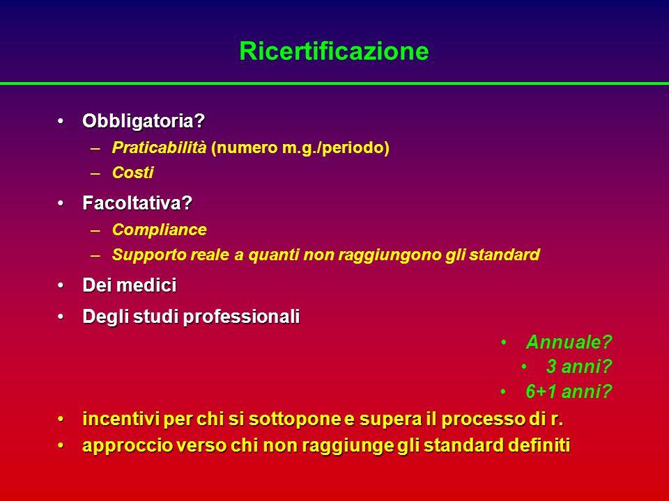 Lo scopo primario della Continuing Medical Education è di mantenere e migliorare le performance cliniche P.Cantillon, R.Jones.