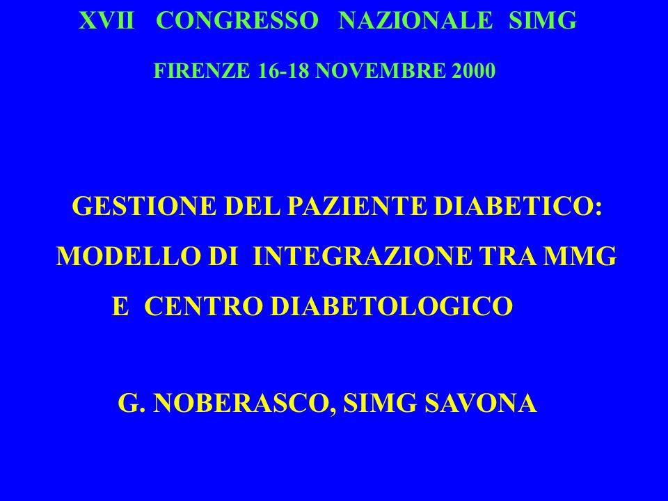 XVII CONGRESSO NAZIONALE SIMG FIRENZE 16-18 NOVEMBRE 2000 GESTIONE DEL PAZIENTE DIABETICO: MODELLO DI INTEGRAZIONE TRA MMG E CENTRO DIABETOLOGICO G. N
