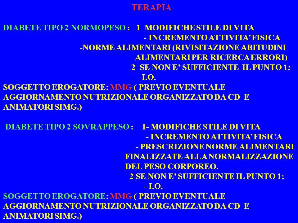 TERAPIA DIABETE TIPO 2 NORMOPESO : 1 MODIFICHE STILE DI VITA - INCREMENTO ATTIVITA FISICA -NORME ALIMENTARI (RIVISITAZIONE ABITUDINI ALIMENTARI PER RICERCA ERRORI) 2 SE NON E SUFFICIENTE IL PUNTO 1: I.O.
