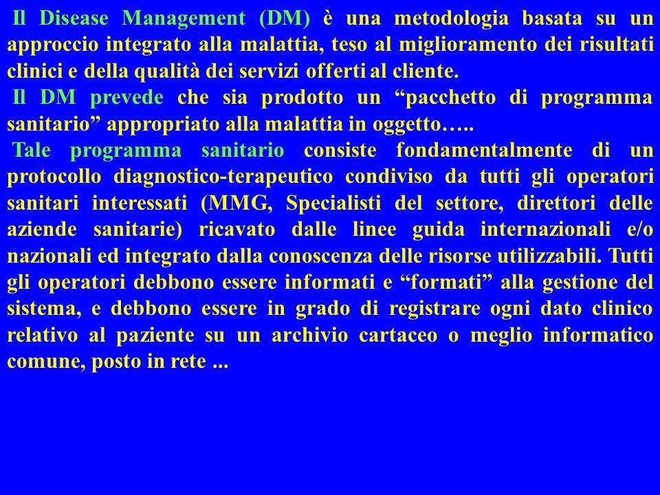 Il Disease Management (DM) è una metodologia basata su un approccio integrato alla malattia, teso al miglioramento dei risultati clinici e della qualità dei servizi offerti al cliente.