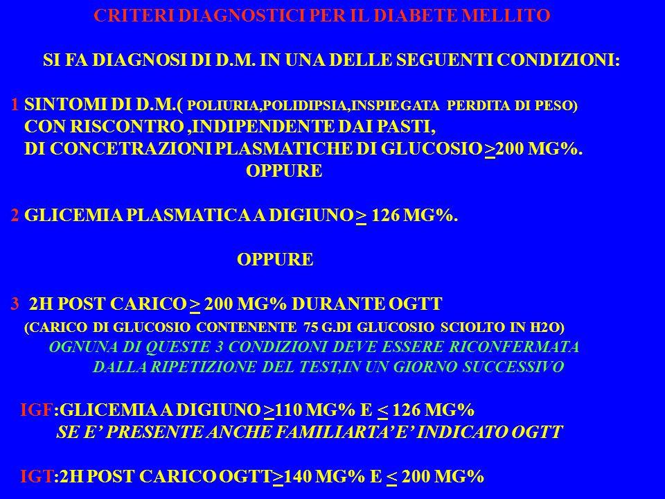 CRITERI DIAGNOSTICI PER IL DIABETE MELLITO SI FA DIAGNOSI DI D.M.