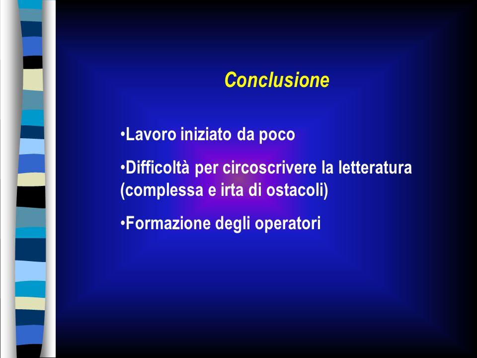 Conclusione Lavoro iniziato da poco Difficoltà per circoscrivere la letteratura (complessa e irta di ostacoli) Formazione degli operatori
