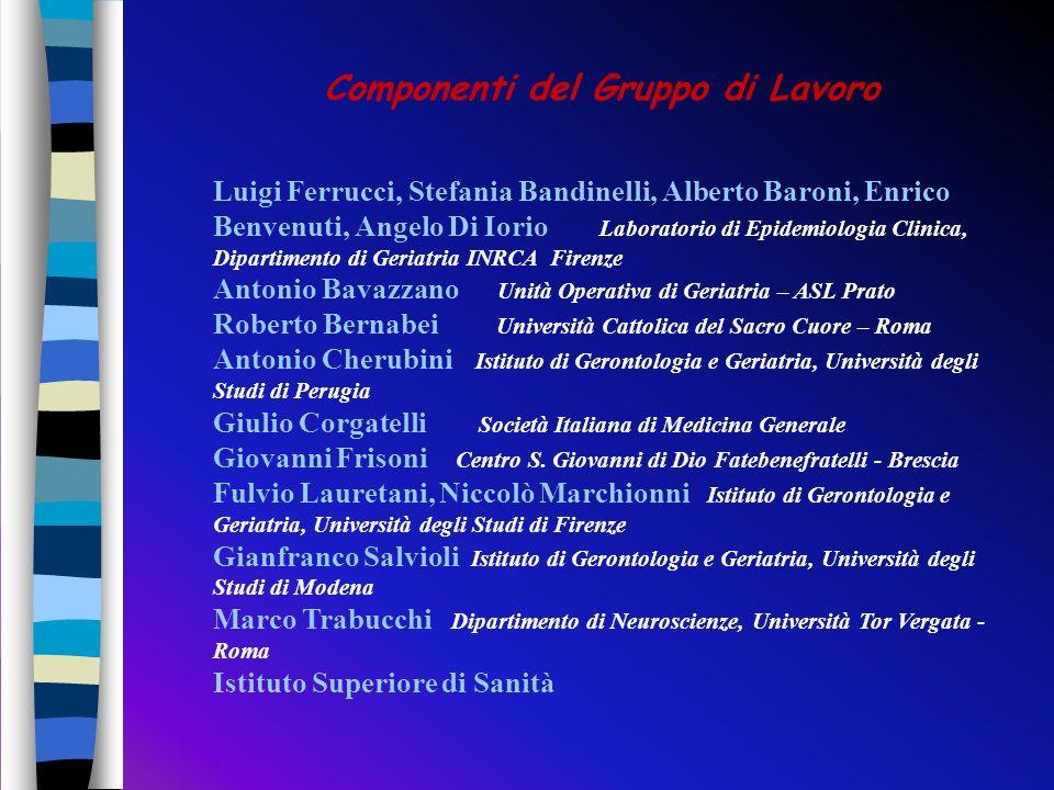 Luigi Ferrucci, Stefania Bandinelli, Alberto Baroni, Enrico Benvenuti, Angelo Di Iorio Laboratorio di Epidemiologia Clinica, Dipartimento di Geriatria