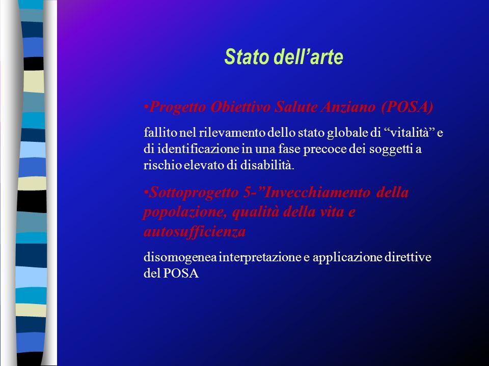 Stato dellarte Progetto Obiettivo Salute Anziano (POSA) fallito nel rilevamento dello stato globale di vitalità e di identificazione in una fase preco